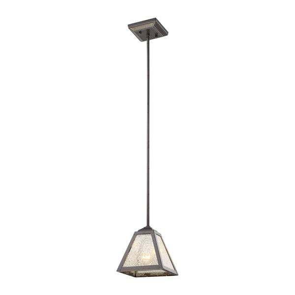 Plano Iron Rust Mercury Glass 1-light Pendant