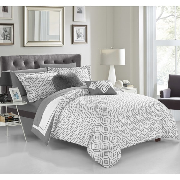 Chic Home Alon Grey 9-piece Complete Bed in a Bag Reversible Comforter Set