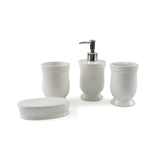 4 Piece Ceramic Classic Bathroom Accessory Set