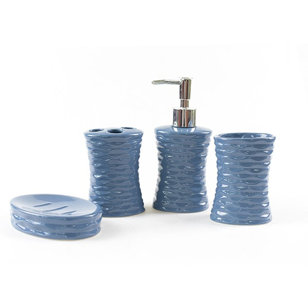 Shop 4 piece ceramic modern bathroom accessory set free - Modern bathroom accessories sets ...