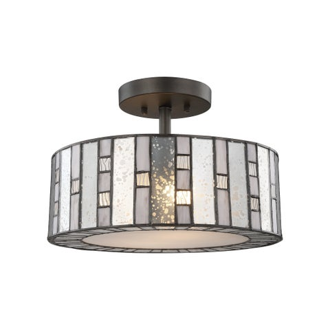 Ethan Tiffany Bronze Metal 2-light Semi-flush Fixture with Mercury, Grey, and Clear Rippled Glass
