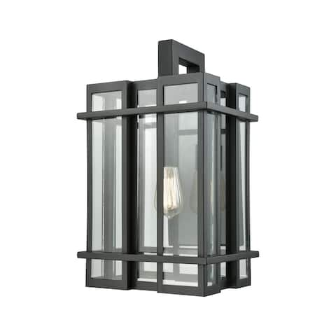Glass Tower Matte Black Clear Glass 1-light Outdoor Wall Sconce