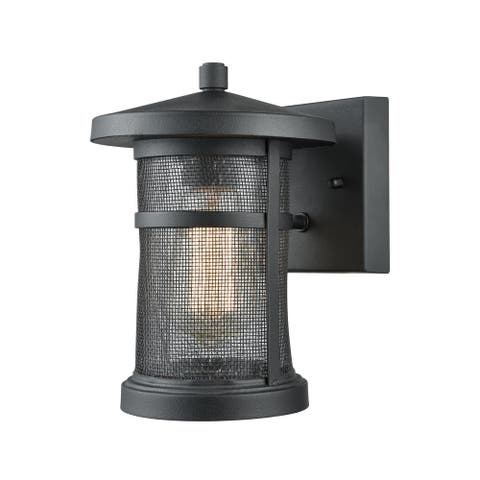 Aspen Lodge Matte Black Metal Textured 1-light Outdoor Wall Sconce - Silver