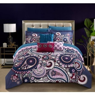 Chic Home Taro Purple 10-Piece Reversible Comforter Set Bed in a Bag