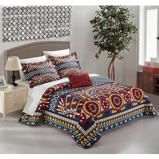 Chic Home Kaemon Blue 4-piece Reversible Quilt Cover Set with Decorative Pillows Shams