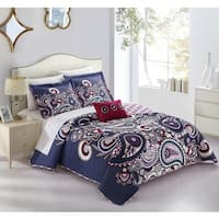 Chic Home Gaara Purple 4-Piece Reversible Quilt Cover Set with Decorative Pillows and Shams