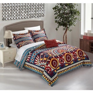 Chic Home Aya Blue 4-Piece Reversible Duvet Cover Set with Decorative Shams