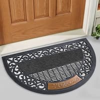 "FH Group Indoor Outdoor arch / semi-circle Mats Rugs Doormat 16"" x 30"" - Rubber utility mat for pets dogs mud shoes or home"