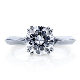 Annello by Kobelli 14k White Gold 1 3/5ct TGW Round Forever One Colorless (DEF) Moissanite with Diamond Floral Ring