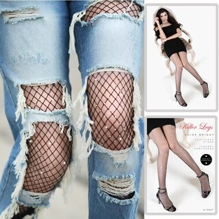 Shine Bright Scattered Stone Stretchable Fishnets (One Size)