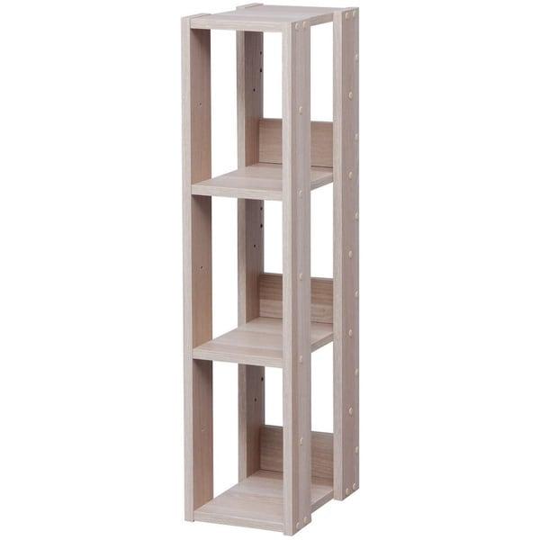 IRIS 3-shelf Light Brown Slim Wood Storage Shelving Unit  sc 1 st  Overstock.com & Shop IRIS 3-shelf Light Brown Slim Wood Storage Shelving Unit - Free ...