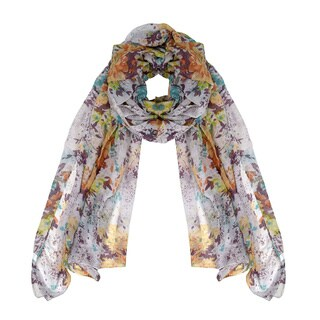 Peach Couture Women's Summer Fashion Hibiscus Floral Lightweight Scarf