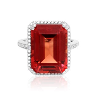 11ct TGW Emerald Shape Created Padparadscha Sapphire and Diamond Accent Ring In Sterling Silver - Orange