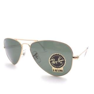 Ray-Ban 3044 Unisex Gold-tone/Green Lenses Acetate Small Aviator Sunglasses