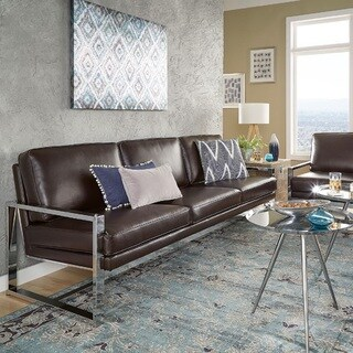Rafael Chrome Sofa and Loveseat by iNSPIRE Q Modern