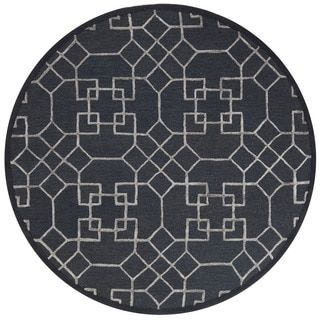 Hand-hooked Carolyn Charcoal/ Silver Rug (7'6 x 7'6 Round)
