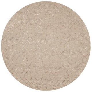 Hand-hooked Carolyn Taupe Curved Trellis Rug (7'6 x 7'6 Round)