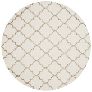 "Hand-hooked Ivory/ Beige Moroccan Trellis Round Area Rug - 7'6"" x 7'6"" Round"