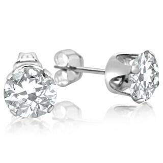 2 TGW White Topaz Stud Earrings In Sterling Silver