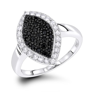 Luxurman Ladies White Black Pave Diamond Ring 0.7ct 14K Gold (H-I, Black; I1-I2, AAA)