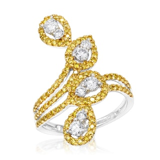 Luxurman 14K Gold White Yellow Diamond Cocktail Ring for Women Floral Design 1.25ct (H-I, Yellow; SI