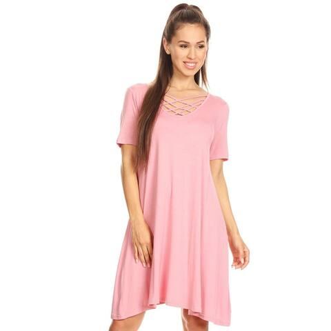 Crossed Strap Front Swing Dress
