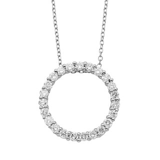 14K Certified 1/2CT Diamond Circle Pendant