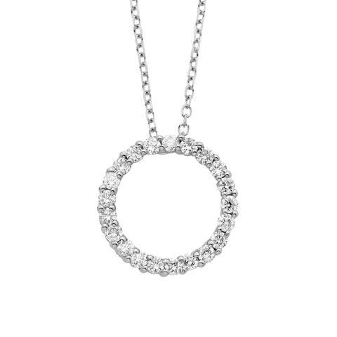 14K Certified 1/4CT Diamond Circle Pendant