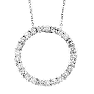 14K Certified 1CT Diamond Circle Pendant
