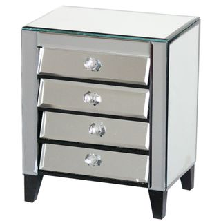Sophisticated Mirror Jewelry Box Cabinet - Benzara