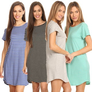 Striped Short Sleeve Tunic T-Shirt Dress