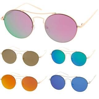 6b2dabcb0fb Epic Eyewear Simple Fashion Wired Round Double Bar Flash Lens Women  Sunglasses Model S60W3205