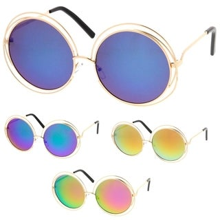 Epic Eyewear Hipster Fashion Round Double Wire Flash Lens Women Sunglasses Model S60W3190 (Option: Yellow)