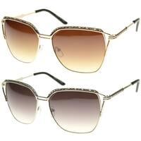 Epic Eyewear Retro Fashion Rectangular Wired Horn Rimmed Sunglasses S61NGW3105