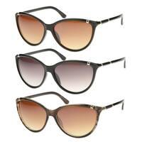Epic Eyewear Retro Fashion Studded Horn Tip Cat Eye Sunglasses S61NGB03