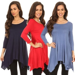 Asymmetrical Hemline Tunic Top, Easy to Match Styles