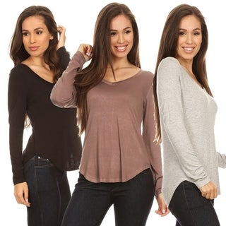 Solid V-Neck Long Sleeve Top for Women