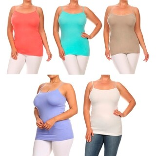 A Set of 2 Plus Size Lady's Color Seamless Cami Top