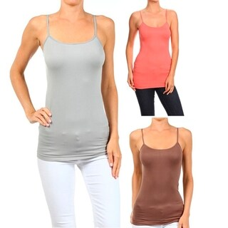 A Set of 3 Solid Seamless Cami Top Combo Deal 2 (Option: Multi)