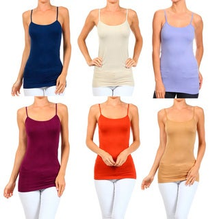 A Set of 2 Solid Seamless Cami Top Summer Color