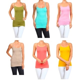 A Set of 2 Solid Seamless Cami Top Soft Color