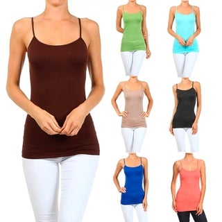 A Set of 2 Solid Seamless Cami Top Spring Color
