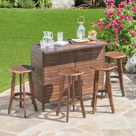 Pike Outdoor 5-Piece Acacia Wood Bar Set by Christopher Knight Home