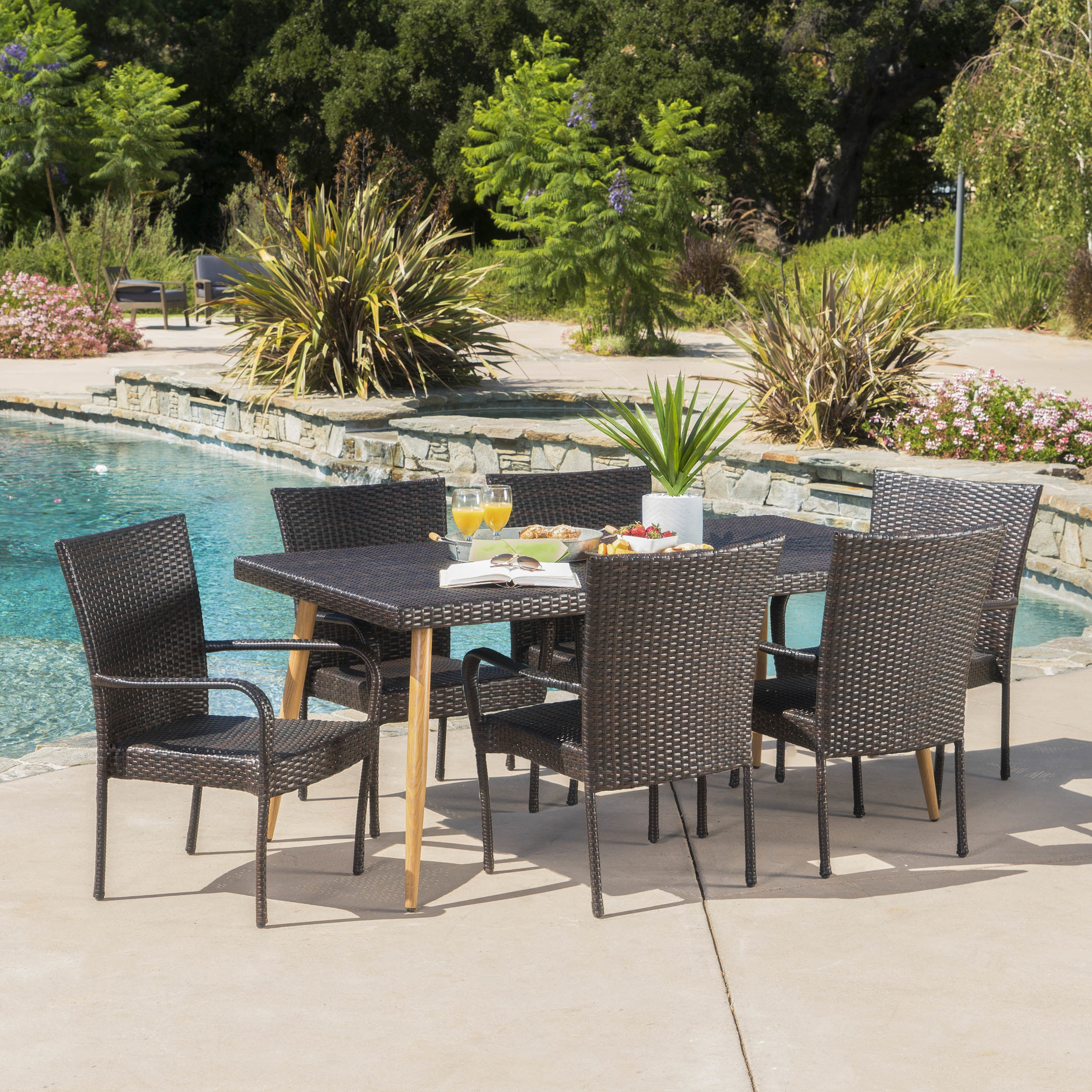 Cabrillo Outdoor 7 Piece Rectangle Dining Set By Christopher Knight Home Overstock 16851993