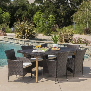 Carpinteria Outdoor 7-piece Rectangle Dining Set with Cushions by Christopher Knight Home