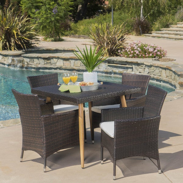 Carpinteria Outdoor 5-piece Square Dining Set with Cushions by Christopher Knight Home