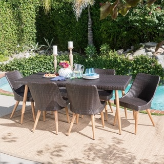 Link to Delphi Outdoor 7-piece Rectangle Dining Set by Christopher Knight Home Similar Items in Patio Furniture