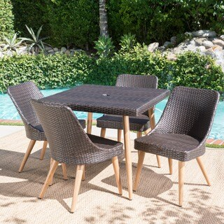 Delphi Outdoor 5-piece Square Dining Set with Umbrella Hole by Christopher Knight Home