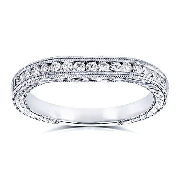 Annello by Kobelli 14k White Gold 1/5ct Diamond Contoured Wedding Band Ring (G-H, I1-I2)