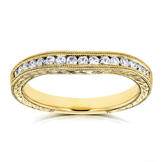 Annello by Kobelli 14k Yellow Gold 1/5ct Diamond Contoured Wedding Band Ring (G-H, I1-I2)